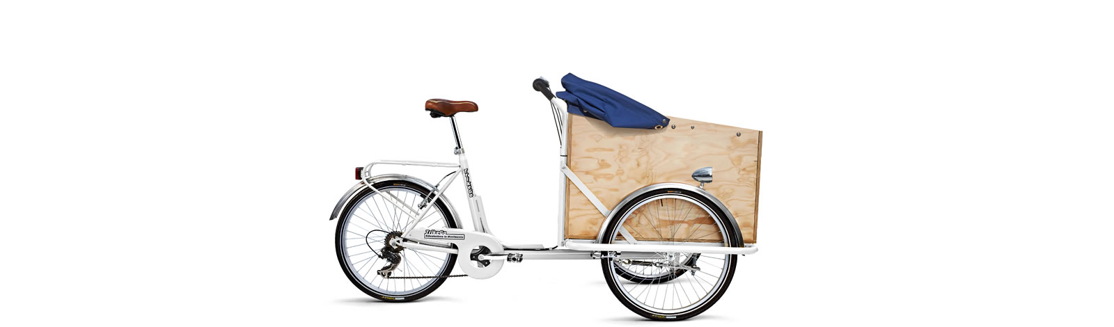 TrikeGo Cargobike- cassone - capottina abbassata - bianco