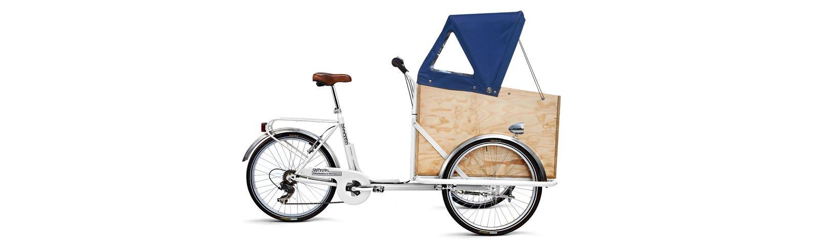TrikeGo Cargobike- cassone - capottina alzata - bianco