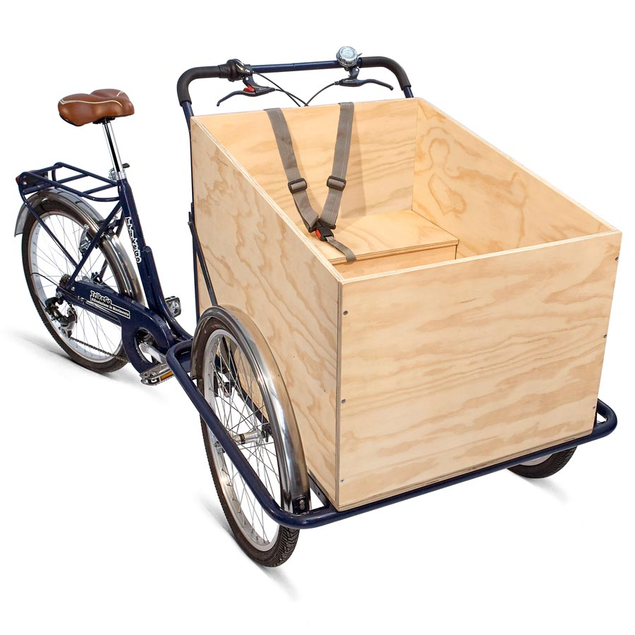 Cargo Bike TrikeGo BLU Cassone Legno Cassa Panca Baule Cintura di Sicurezza