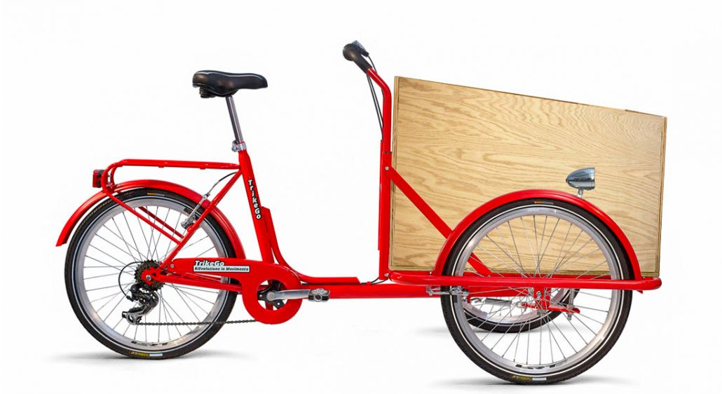 Cargo Bike Rossa - Con Box Legno