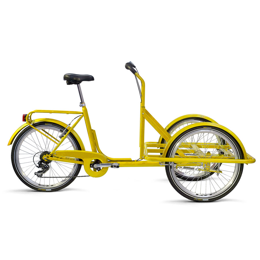 Cargo Bike TrikeGo Giallo Solo Telaio Visione Laterale BN