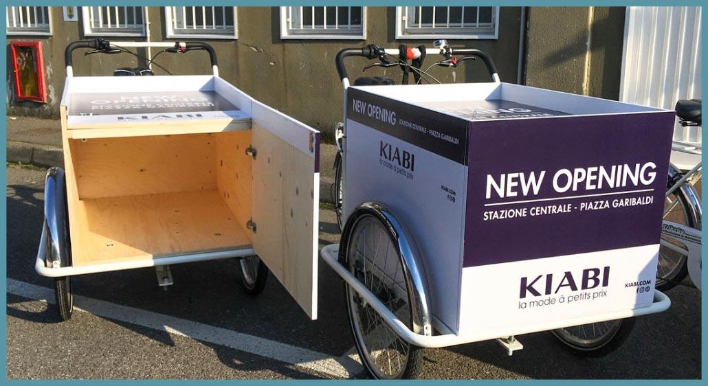 Cargo Bike per Nuova Apertura Kiabi - Box Personalizzato