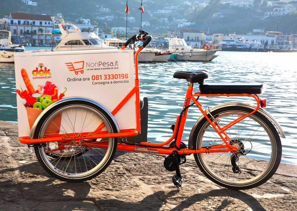 Cargo Bike TrikeGo Pedalata Assistita Mare lavoro Noleggio