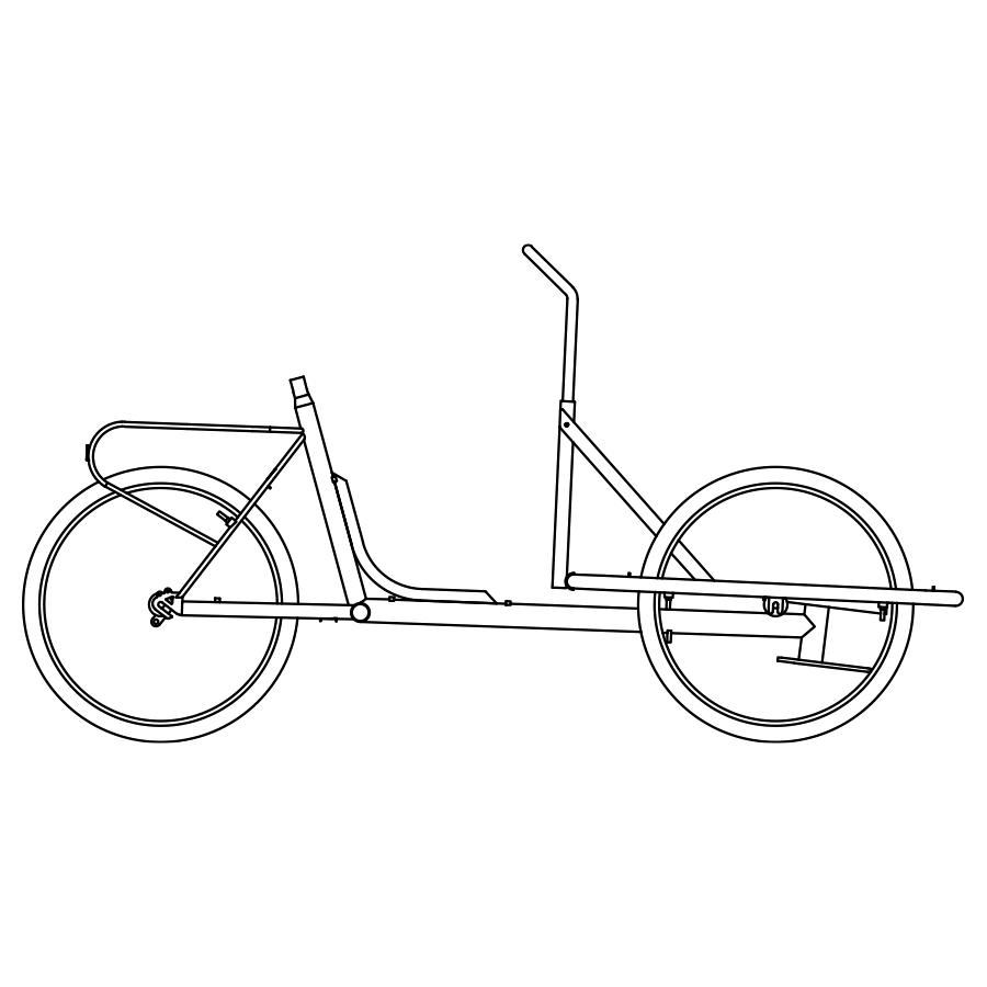 Cargo Bike TrikeGo Proiezioni Ortogonali Visione Laterale BN