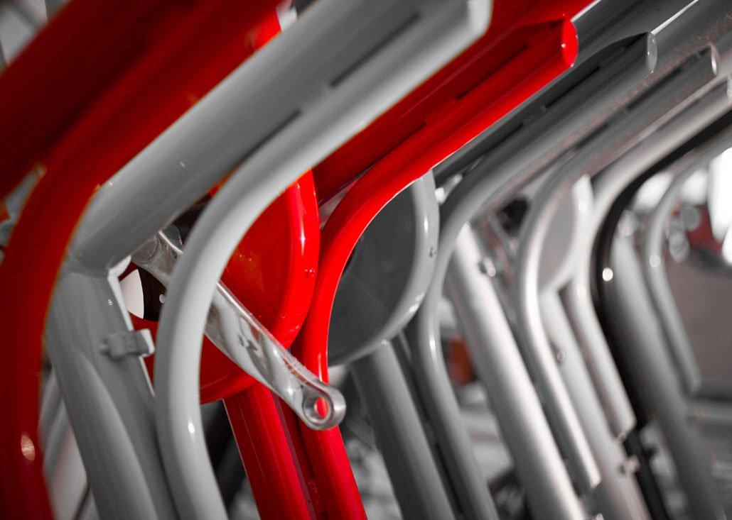 Cargo Bike TrikeGo Telai Rosso Grigio Metallo Antracite
