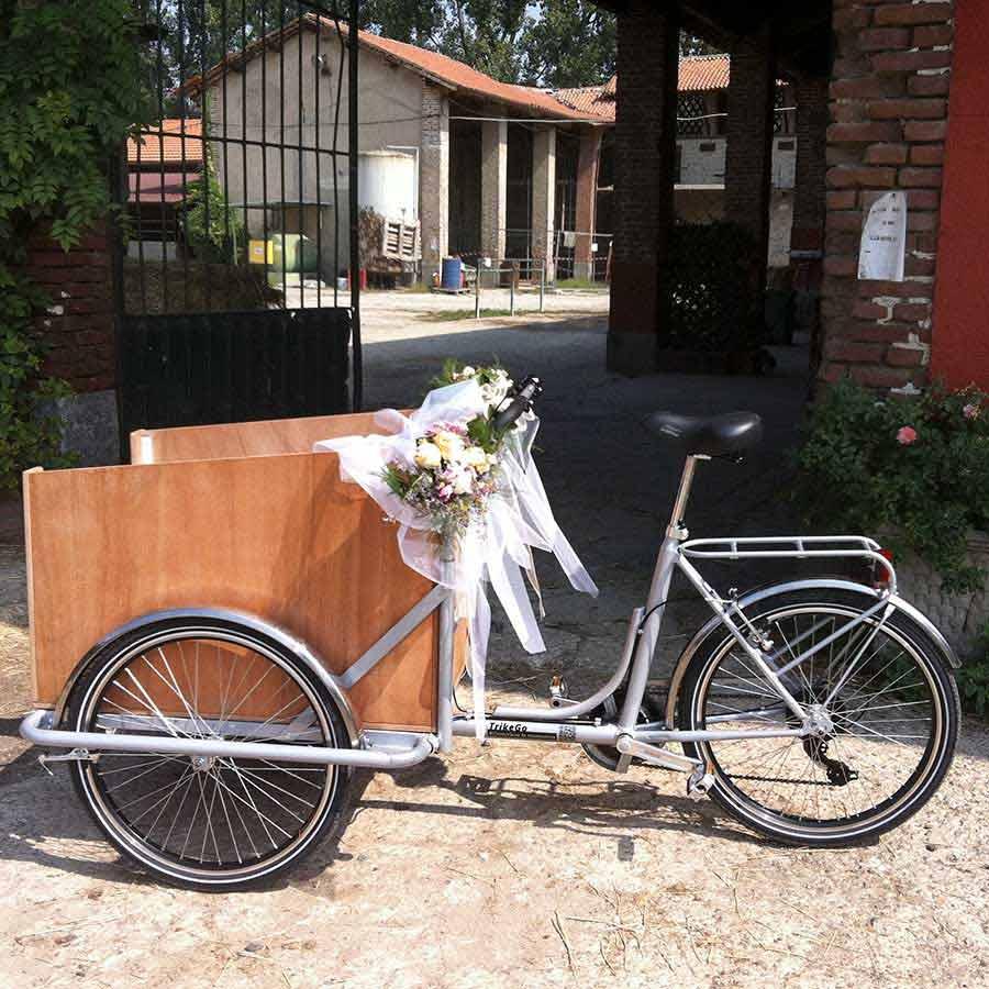 Matrimonio con Cargo Bike con Addobbi
