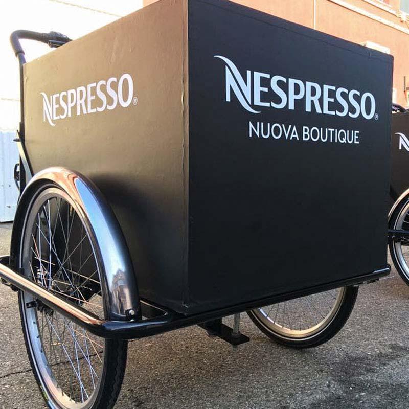 Apertura Boutique Nespresso con Cargo Bike