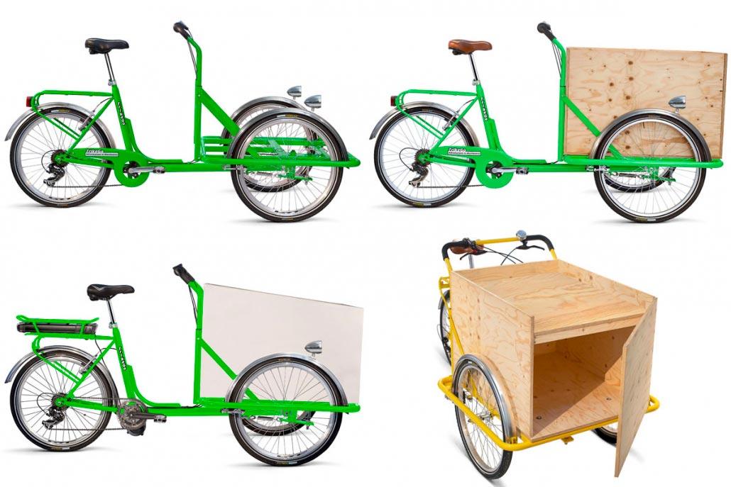 Cargo Bike TrikeGo VERDE GIALLO Cassone Legno Vari Modelli
