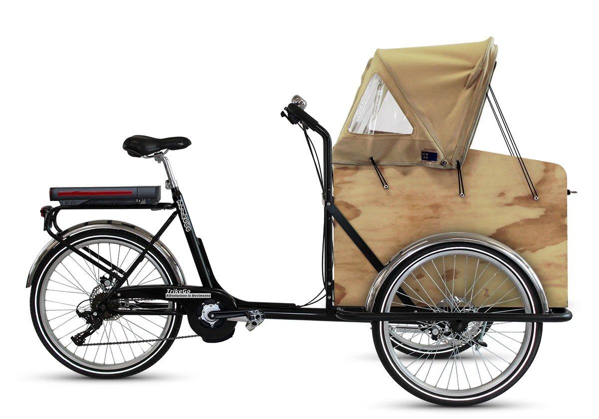 TrikeGo CARGO BIKE a Pedalata Assistita + Box Legno con Capottina 4 Stagioni